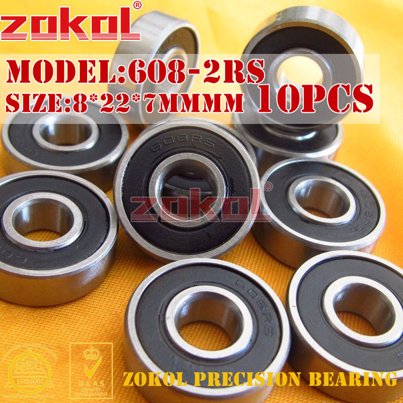 ZOKOL bearing 10PCS 608-2RS 608 2RS 180018 Miniature  Deep Groove ball bearing 8*22*7mm best price 10 pcs 6901 2rs deep groove ball bearing bearing steel 12x24x6 mm