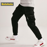 Balabala Boy Fleece Lined Cargo Joggers Teenage Boy Pull on Sweatpants Sport Pants with Open Pocket Ribbing at Waist and Hem