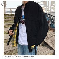 Privathinker Man Patchwork 2019 Casual Jackets Mens Safari Style Black Streetwear Jackets Male Autumn Hip Hop Jackets Plus Size