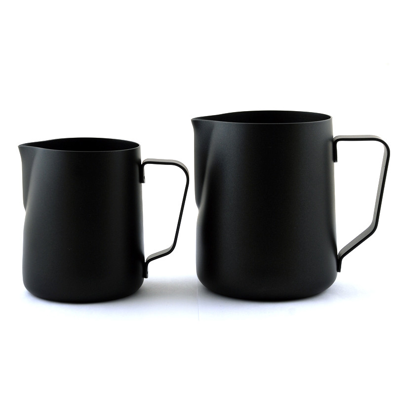 Black Non-stick Coating Coffee Mug Cup Jug Stainless Steel Espresso Milk Coffee Frothing Jug Tamper Cup Mug 350ml /600ml