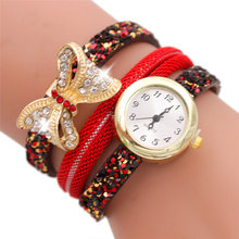 Louise wholesale Fashion Butterfly Analog Quartz Watch Women Leather Band Watch Bracelet Watch woman watch bayan kol saati new
