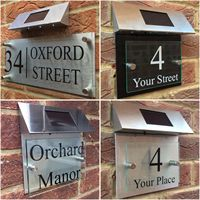 Customize MODERN HOUSE SIGN PLAQUE DOOR NUMBER STREET GLASS ALUMINIUM EFFECT SOLAR LED Number stickers Address number for house