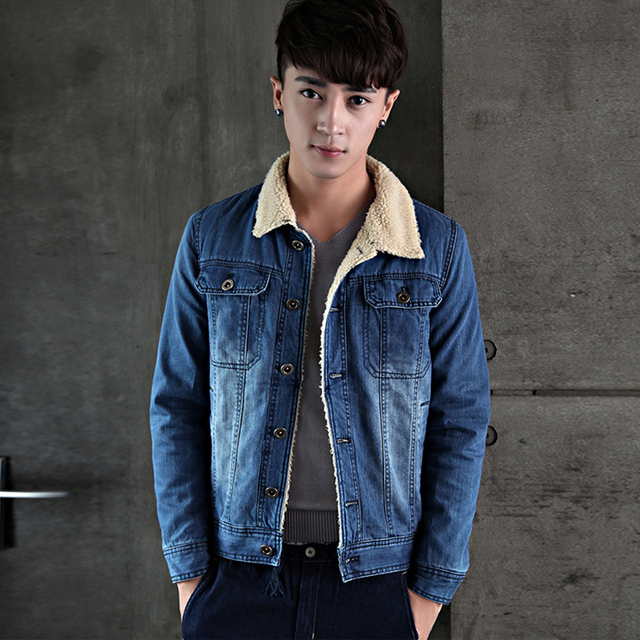 Jeansjacke mit pelzkragen