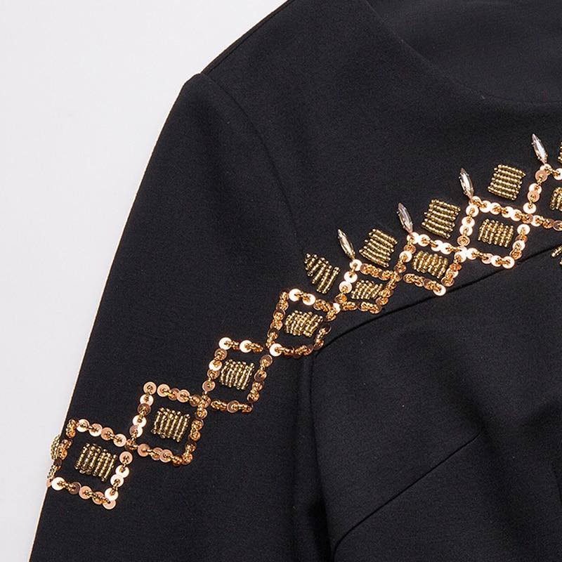 D'oro Che Primavera Paillettes Nero Donne 5xl Collare Aofuli Abbigliamento 3680 2018 Cava Geometrica Borda Il S Plus Size Vestito qf7nwtZO