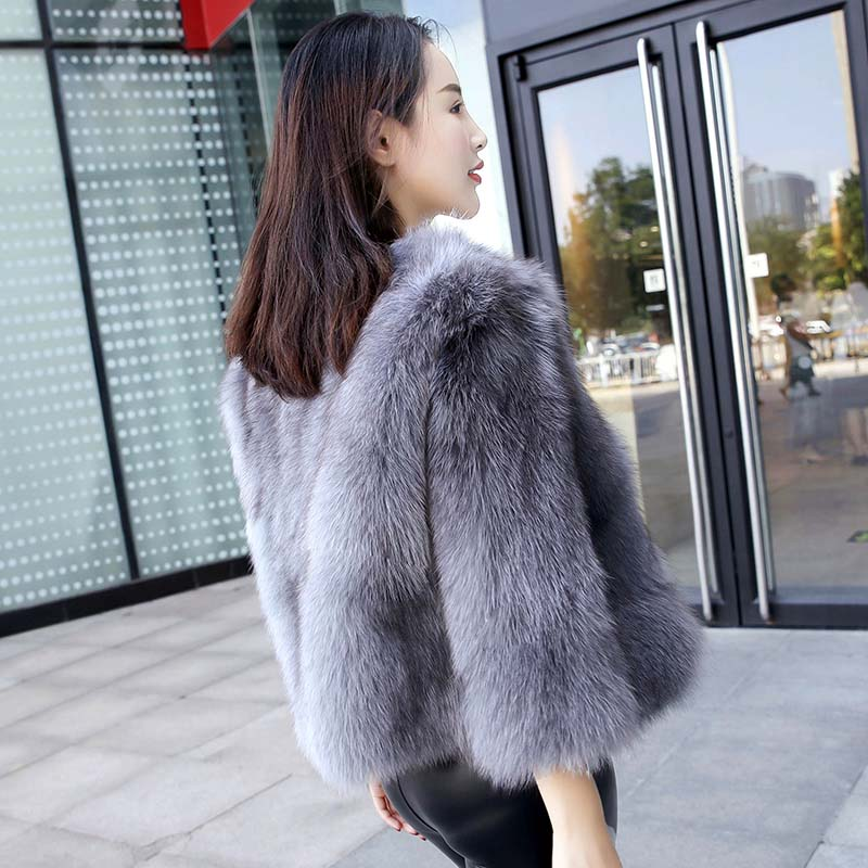 2018 Autumn winter new style natural fox fur jacket women O neck real fox fur coat