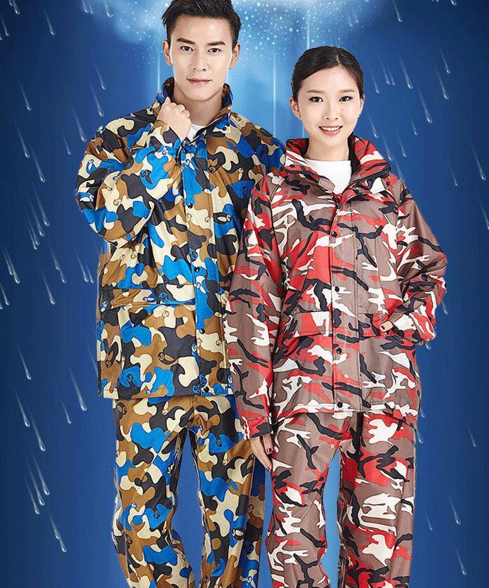 2 sets por atacado vento quente Respirável camuflagem separat elétrica fissão capa de chuva reflexivo traincoat calças terno adulto poncho