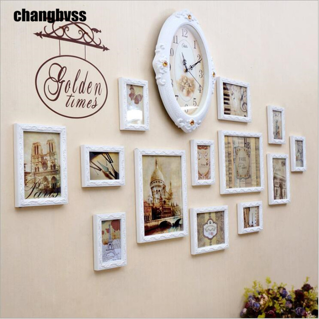 modern white picture frames. 13 Pcs/set Modern Wooden Photo Frames Wall Hanging Picture Frame With Clock Carved White L