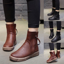 Women Boots Winter 2018 Leather Short Boot British Style Martin Boot Flat Low Zipper Short Tube Boots Non-slip Shoe botas mujer