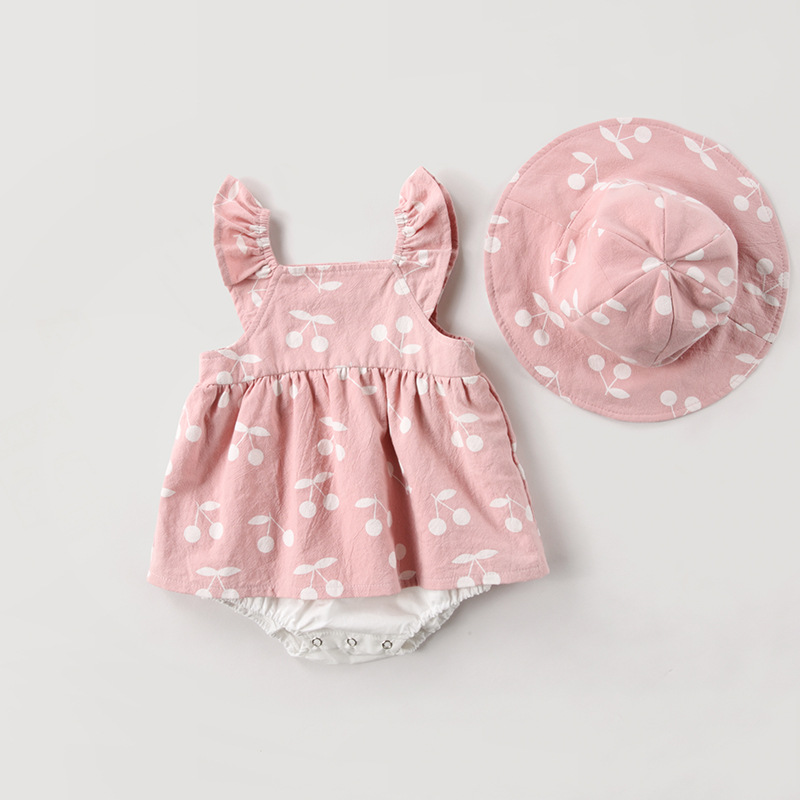 Baby Clothes Baby Rompers New Summer Clothes 2019 Spring Fashion Cute Cherry Prints Kids Clothing Rompers Dress With Hat