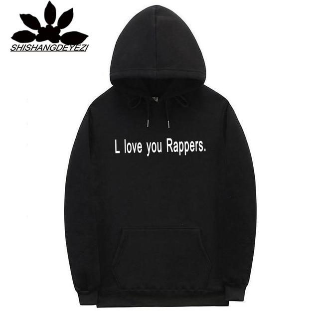 2018 nueva letra L amor usted raperos Hoodies Hip Hop Streetwear hombres  Hoodies sudaderas moda Casual 99047ab110c