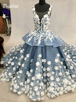 Real Picture Heavy Work Ball Gown Wedding Dresses Luxury Flower Beaded Tiered Chapel Train Tulle Long