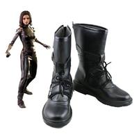 Movie Alita: Battle Angel Alita Cosplay Shoes Women's Halloween Carnival Black PU Leather Boots Custom Made