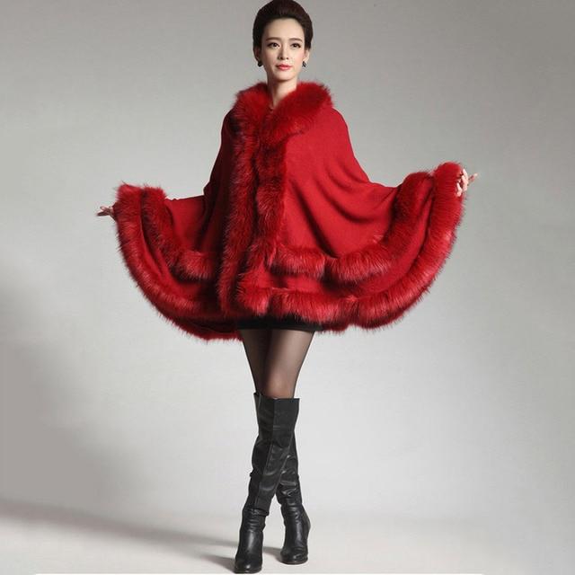 NUEVA Moda de invierno tela gruesa mujeres de la capa del mantón del ...