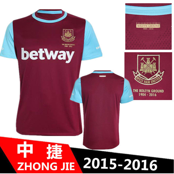5824ca27b West Ham United 15 16 New Jersey 2015 Soccer Jerseys West Ham 2016 SONG  COLE DOWNING CARROLL Home Red Football Shirt
