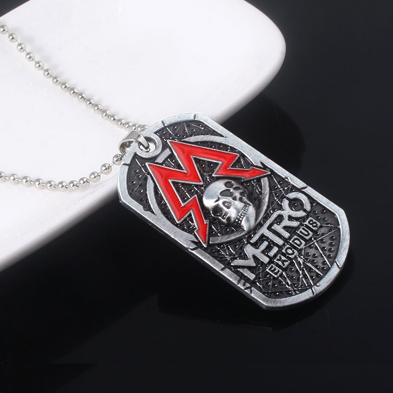 Game Metro Exodus 2033 Necklaces Skull Logo Dog Tag Pendant Necklace for Women Men Choker Keyring Jewelry in Pendant Necklaces from Jewelry Accessories