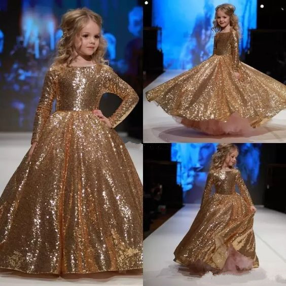 Shinny bling gold sequins boat neck glitz Pageant Girl Dresses Long Sleeves ball gown Flower Girl Dress Birthday Party prom Gown ball gown sky blue open back with long train ruffles tiered crystals flower girl dress party birthday evening party pageant gown