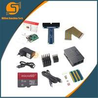 Raspberry Pi 10 em 1 3 + ABS + Caso 8 GB SD Card + GPIO placa adaptadora + 2 pcs dissipador de calor + cabo HDMI + adaptador De Energia com interruptor cabo para pi 2.5A 3