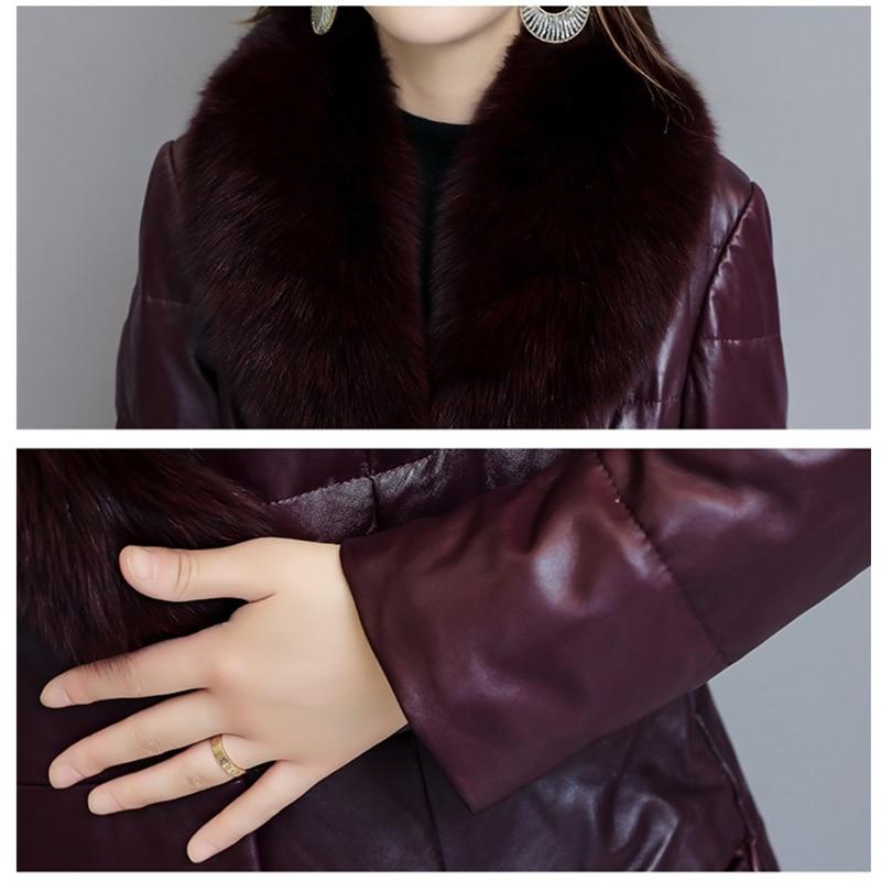 En Fourrure Cuir Haut Col Renard 2019 Rembourré Le Femmes Parkas Bas Épaissir Vers Veste Casual Manteau Plus Coton Faux Black La Taille De purple Hiver Gamme Chaud wqqUT06z