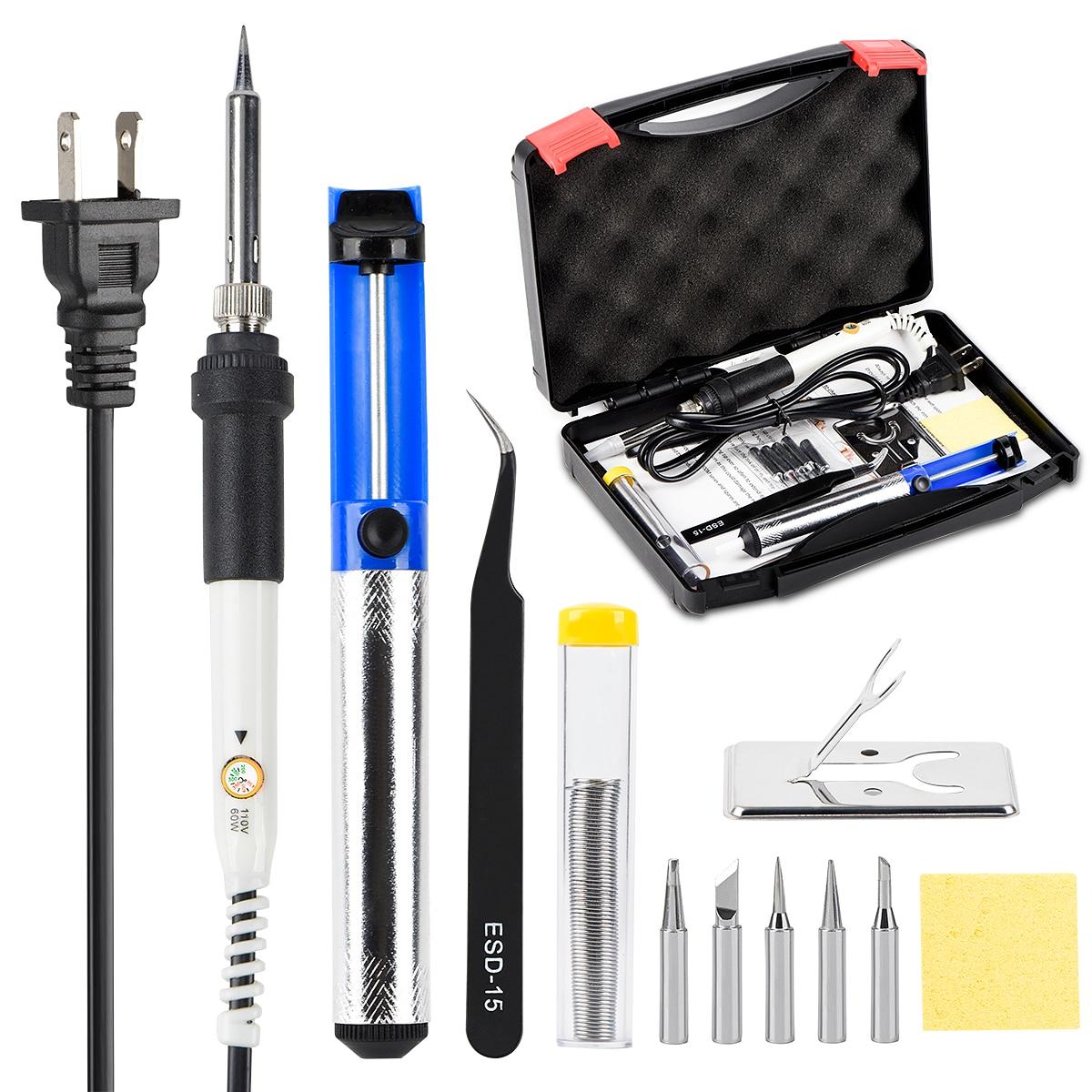 JCD kit Ferro De Solda Elétrica 220V 110V 60W Temperatura Ajustável de solda de solda Retrabalho ferro de solda Stand Titular pontas de arame