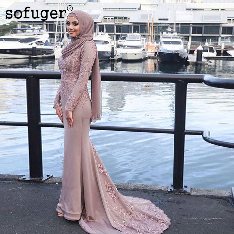 Muslim   Evening     Dresses   Satin Appliques Straight Long Sleeves With Scarf Islamic Dubai Saudi Arabic Long Prom   Evening   Gown