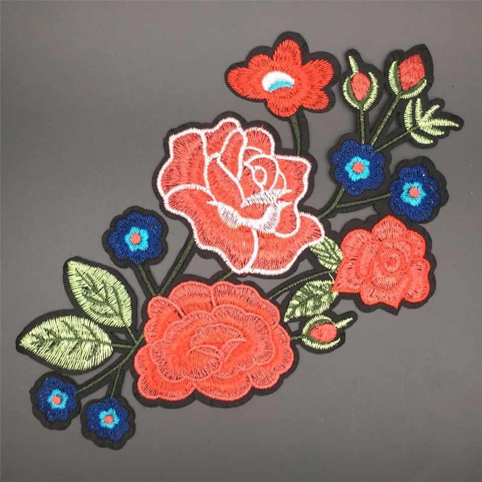 สต็อก! Elegant เย็บปักถักร้อย Patches สำหรับเสื้อผ้าดอกไม้และนกเหล็กบนเย็บปักถักร้อย Badge DIY สำหรับแจ็คเก็ตมอเตอร์