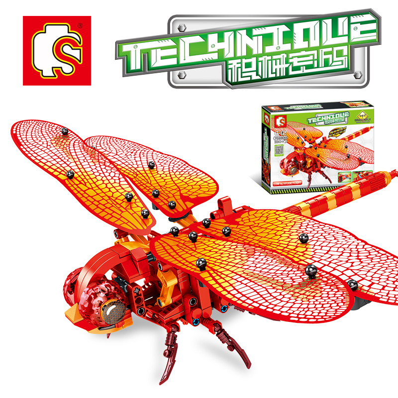 Sembo Diamon Nano Blocks Red dragonfly Mechanical password Technic Voiture  Building Brick Educational Toy Gift