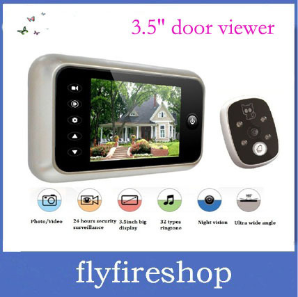 """Free Shipping 3.5"""" LCD TFT screen,take picture+doorbell+nightvision,digital peephole viewer,digital peephole camera 10pcs/lot"""