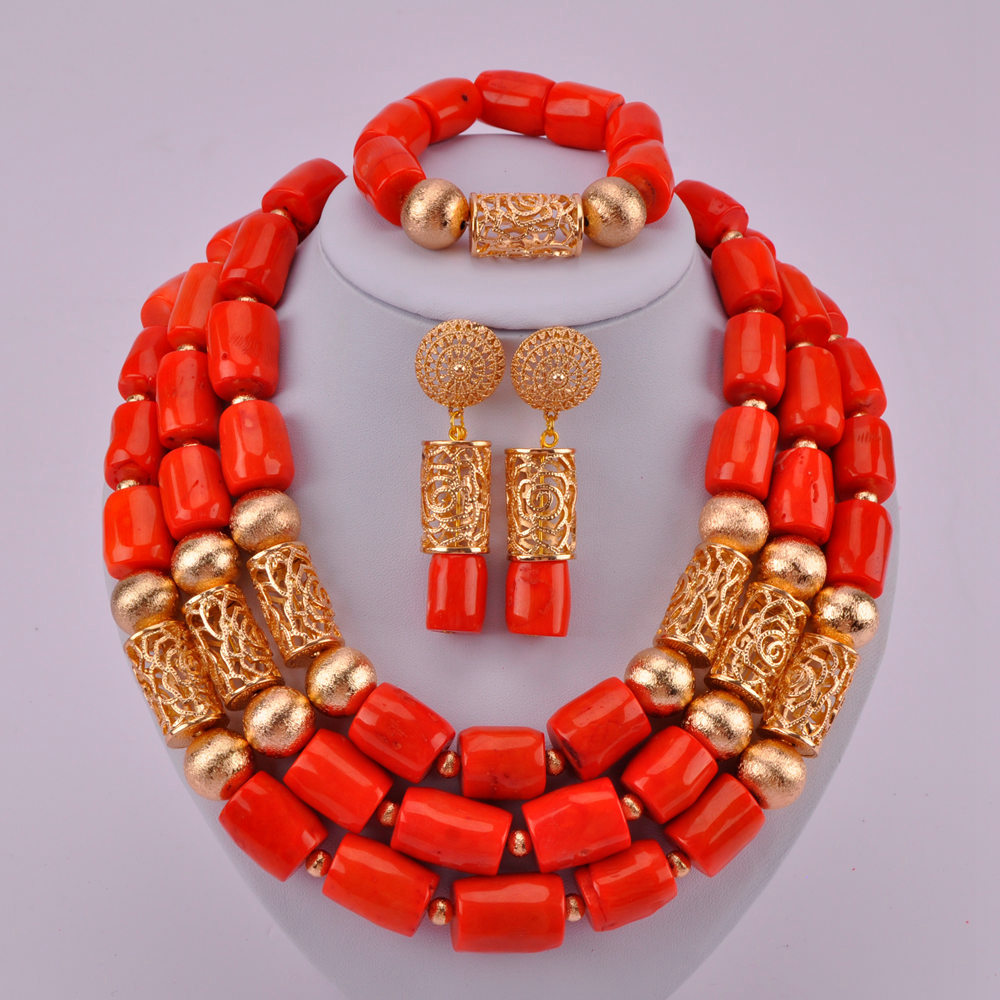Latest Orange Nigerian Necklace African Wedding Coral Beads Jewelry Set Costume Necklace Sets for Women CJS08Latest Orange Nigerian Necklace African Wedding Coral Beads Jewelry Set Costume Necklace Sets for Women CJS08