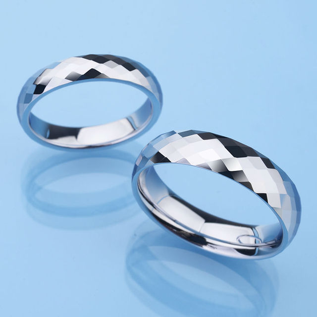Faceted Design Tungsten Rings