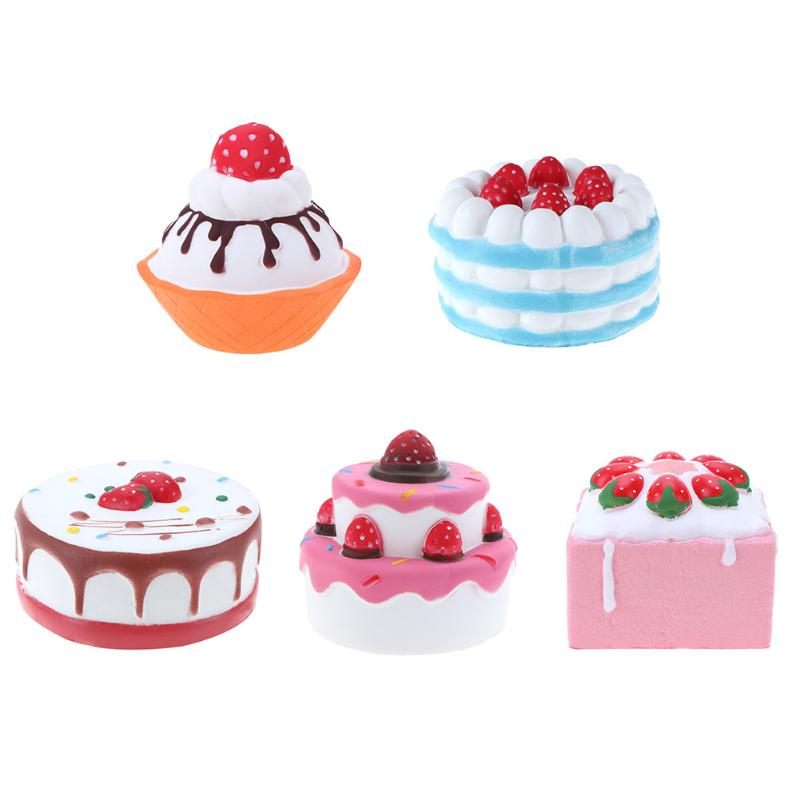 Cute Soft Squishy PU Imitation Cartoon Strawberry Cake Shape Toy Slow Rising for Children Adults Relieves Stress Toys