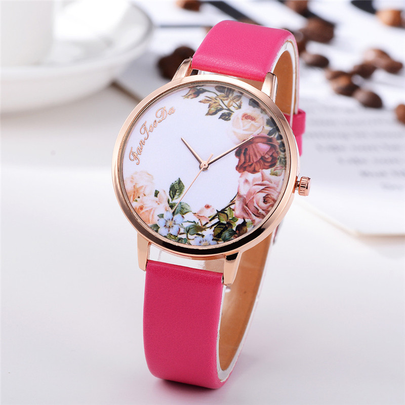 Fashion Womens Watch Girls Casual Flower Dial Leather Band Quartz Wrist Watches Female Clocks Montre Femme Relogio Feminino #D HTB1VeATrfiSBuNkSnhJq6zDcpXak