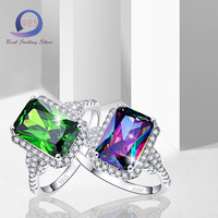 Merthus Women Lab-Created Emerald Rings 925 Sterling Silver Engagemrnt Wedding Ring Size 6 7 8 9 Fashion Jewelry Princess Cut