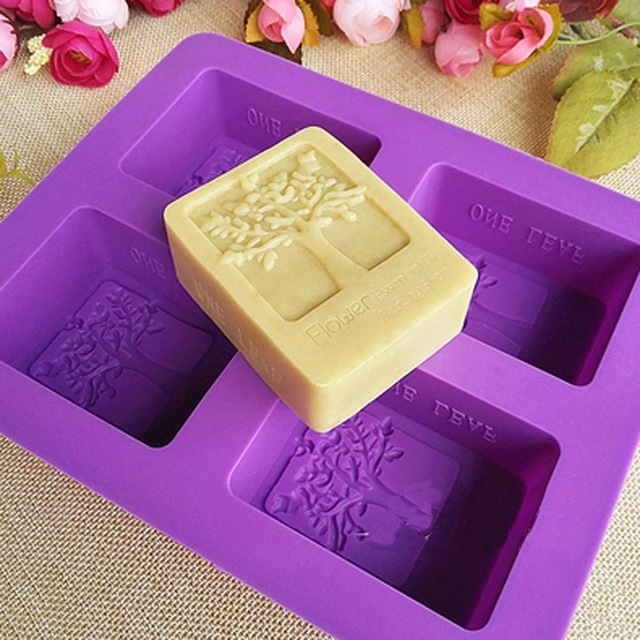 DIY Cold Soap Hand mold Silicone soap mold Rectangular tree mold Four-hole soap mold Candle Maker