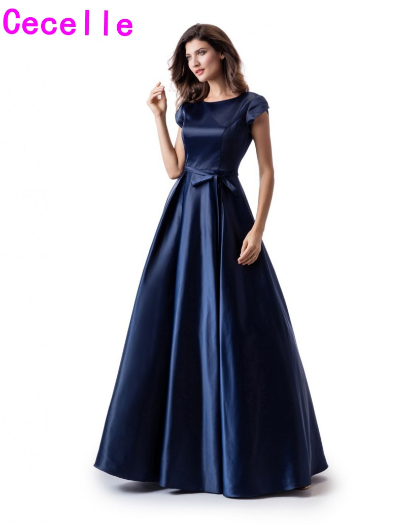 2019 Navy Blue Satin Long Modest   Prom     Dress   With Cap Sleeves A-line Jewel Neck Simple Girls Modest   Prom   Party   Dress