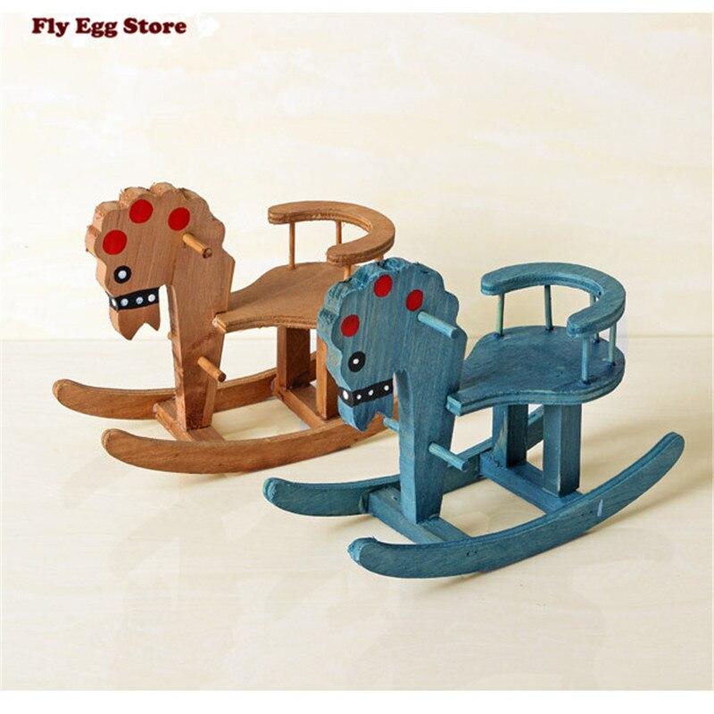 miniaturas origen azul caballo de juguete para nios mueca de juguete de madera muebles de madera