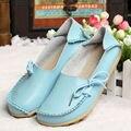 Новые Женщины Натуральная Кожа Обувь Мокасины Мать Мокасины Мягкие Досуг Квартиры Женские Вождения Повседневная Обувь Размер 35-42 16 Цветов