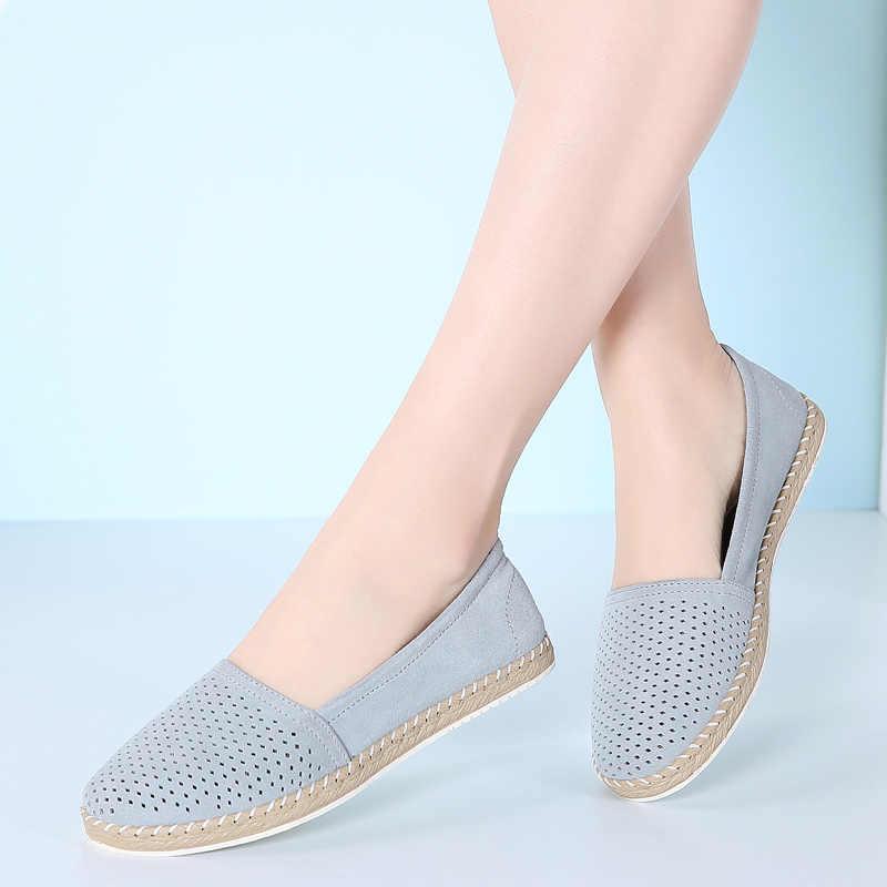 2019 Mùa Xuân Da Giày cho Phụ Nữ Trượt trên các Bãi Giày Ladies Casual Shoes Giày Khâu Thấp Gót Dây Leo Oxfords Giày Phụ Nữ 7023