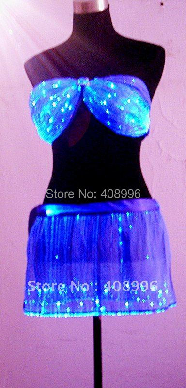 Sexy optical fiber luminous corsage and skirt for performance/fashion show/luminous costume/Show Clothing
