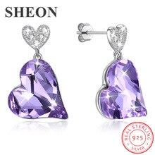 SHEON Genuine 925 Sterling Silver Heart-shaped Hanging Stud Earrings For Women Luxury Jewelry Anniversary Gift