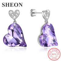 SHEON Genuine 925 Sterling Silver Heart shaped Hanging Stud Earrings For Women Luxury Sterling Silver Jewelry Anniversary Gift