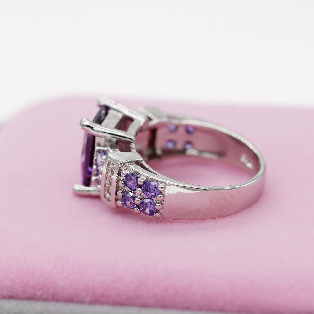 Almei Purple Wedding Rings For Women Crystal Engagement Ring with ...
