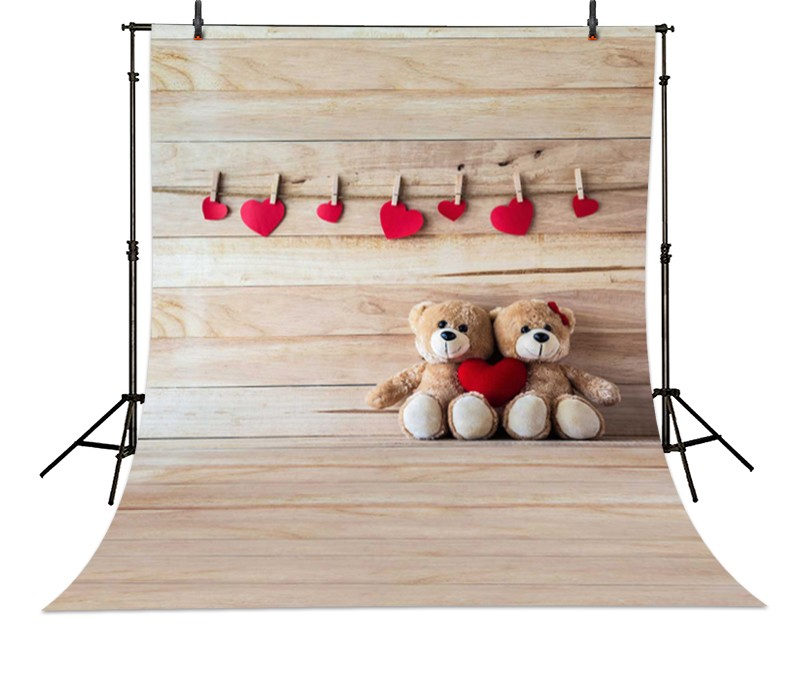Love Teddy Bear Board Heart photo backdrop High-grade Vinyl cloth Computer printed pooh christmas Photography Backgrounds 8x10ft valentine s day photography pink love heart shape adult portrait backdrop d 7324