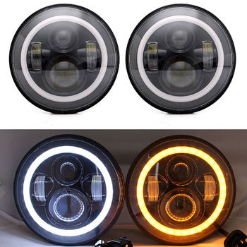 2PCS 7Inch Round LED Headlight Halo Projector DRL/Amber Turn Signal For 07-17 Jeep Wrangler JK 2/4 Door for Land Rover Hummer