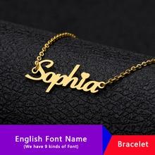 Custom Name Bracelet BFF Personalized Bijoux Jewelry ID Stainless Steel Bridesmaid Gift