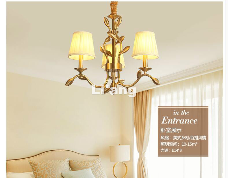 Free Shipping Copper Pendant Lamp Brass Hanging Light Fabric Chandelier Modern Suspension Lighting American Country Nordic Lamp modern 3l 5l 6l 8l 10l brass pendant lamp antique brass chandelier vintage total copper glass ac 100% guaranteed free shipping