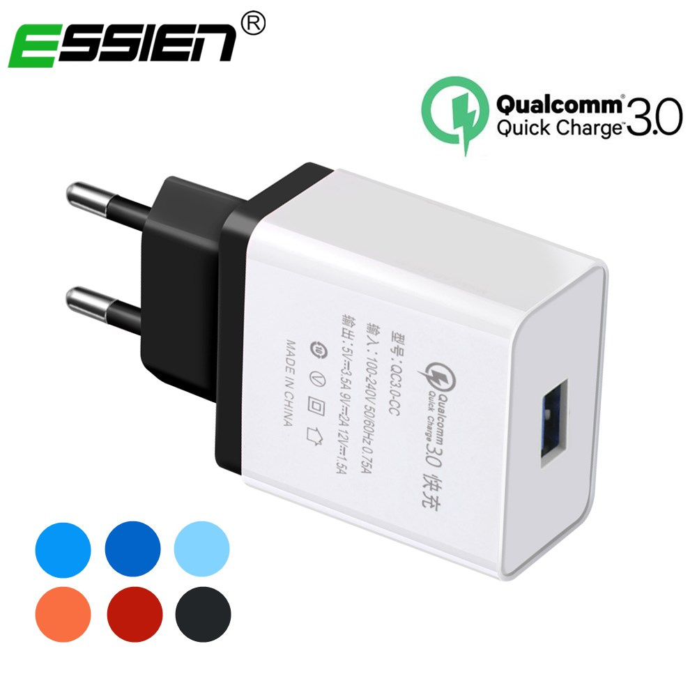 ESSIEN QC3.0 USB Charger Adapter Travel Wall Charger Mobile Phone Fast Charger For iPhone X 8 6s Plus For Samsung HTC Smartphone