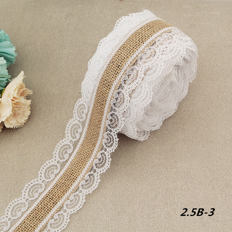 2 Meter/roll Jute Burlap Rolls Hessian Ribbon With Lace Vintage Rustic Wedding Decoration Ornament Burlap Wedding Favor(China)