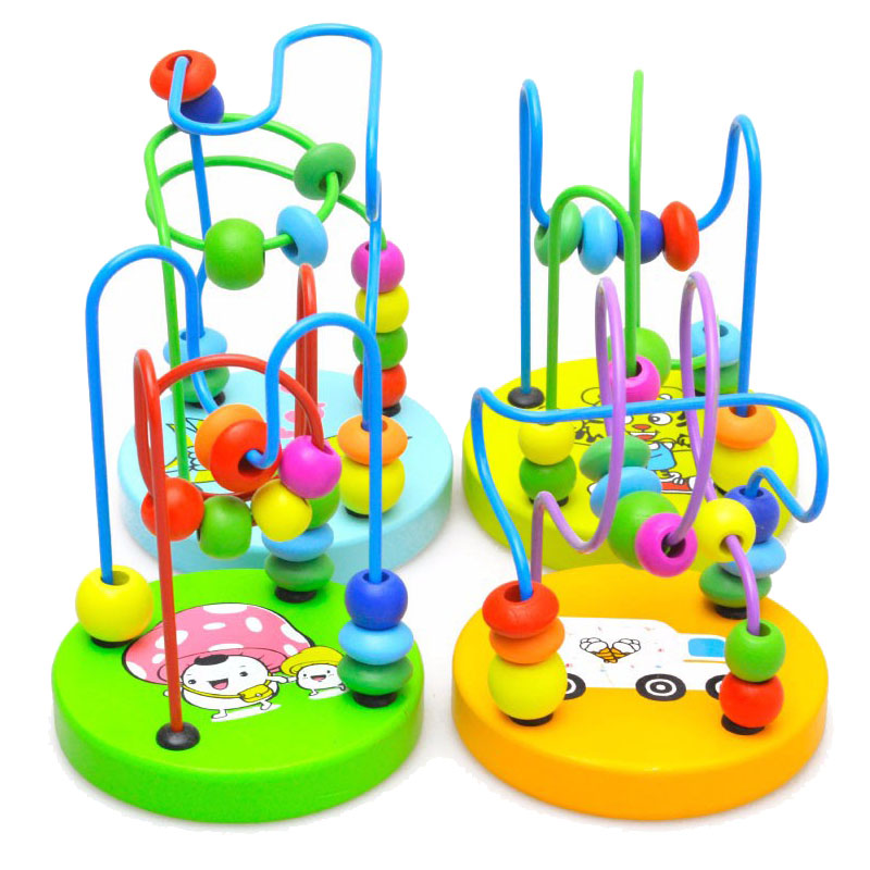 Early Childhood Learning Toy Educational toy Children Kids Baby Colorful Wooden Around Beads Kids Gift toy wooden toy funney baby kids colorful wooden beads labyrinth maze game children toy wooden toy mini around beads wire maze educational game wj 094