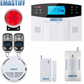 Free shipping French, Spanish, English, Italian, Czech Voice GSM Alarm system Home security Alarm system+smoke detector