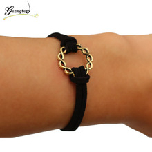 1Pcs Vintage Black Velvet Suede Leather Bracelets & Bangles Women Accessories Jewelry Girl Bangle Fashion Jewelry